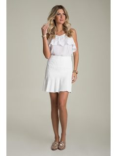 SKIRT WITH PLEATED HEM front