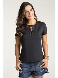 T-SHIRT WITH TIE-DOWN NECKLINE front