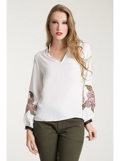 GROSGRAIN BLOUSE WITH PATCHES front