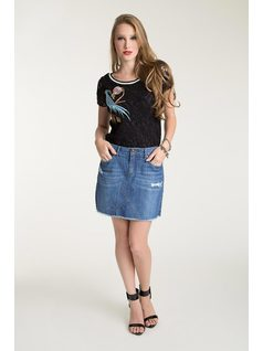 FRONT CUTOUT JEANS SKIRT front