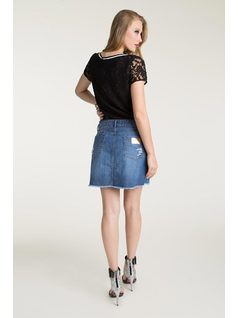 FRONT CUTOUT JEANS SKIRT back