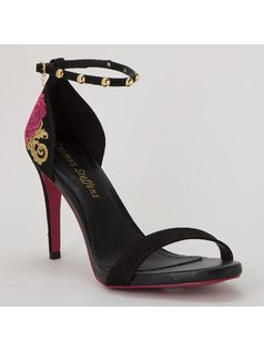 SANDAL WITH EMBROIDERY AND METALS