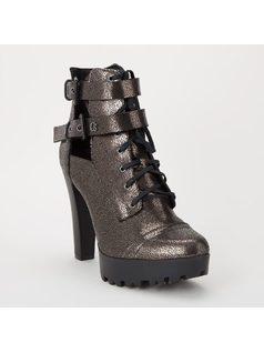 ANKLE BOOT WITH BUCKLES AND TIE front