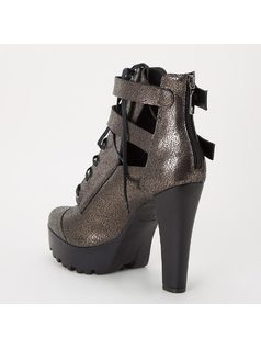 ANKLE BOOT WITH BUCKLES AND TIE back