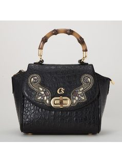 Handbag With Crystal Liques Front