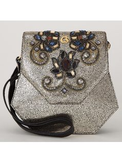 HANDBAG WITH CRYSTAL APPLIQUES front