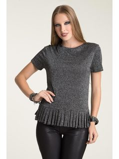 T-SHIRT WITH PLEATED HEM front
