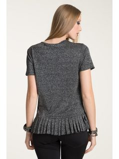 T-SHIRT WITH PLEATED HEM back