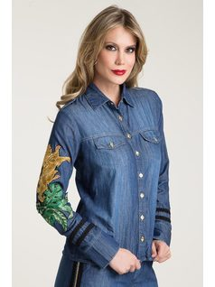 JEANS SHIRT WITH EMBROIDERY front