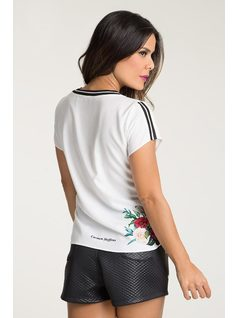 T-SHIRT WITH ELASTANE AND EMBROIDERY back