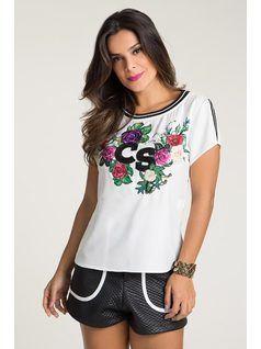 T-SHIRT WITH ELASTANE AND EMBROIDERY front