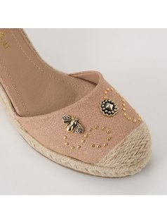 ESPADRILLE STYLE PLATFORM SANDAL WITH METALS back