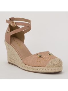 ESPADRILLE STYLE PLATFORM SANDAL WITH METALS front