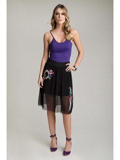MIDI SKIRT WITH PATCH front