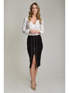 MIDI SKIRT WITH ZIPPER front