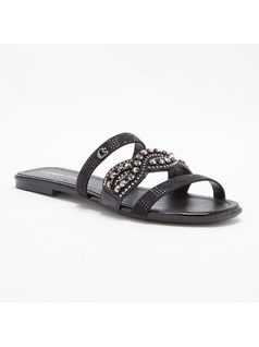 FLAT SANDAL WITH EMBROIDERY AND HOTFIX front