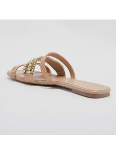 FLAT SANDAL WITH EMBROIDERY AND HOTFIX back