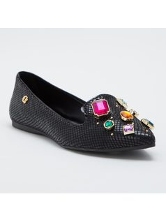 Texturized ballerina flat with crystals front