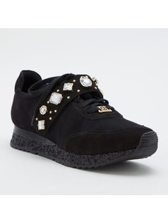 Suede sneakers with crystals front