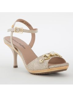 T-strap mule with pearl detail