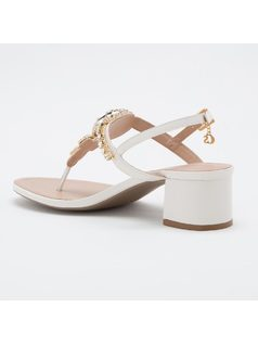T-strap sandal with crystals back