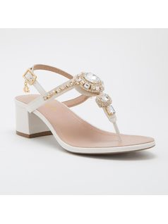 T-strap sandal with crystals front