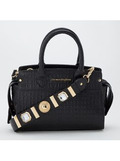 Handbag with studded strap front