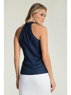 Silky high-neck top with buttons back