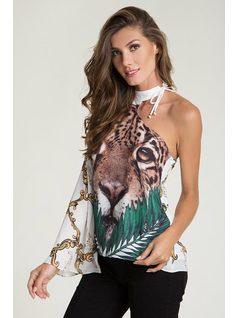 Printed assimetric blouse