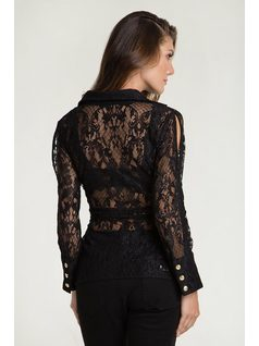Long sleeve lace blouse with bow