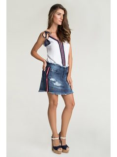 Denim skirt with stripes front