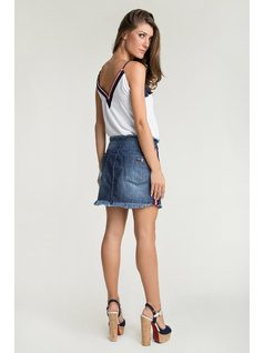 Denim skirt with stripes back