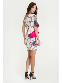 One-shoulder printed bodycon dress