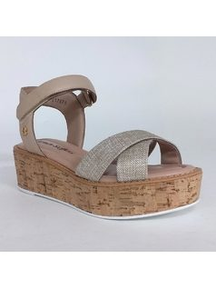 Platform sandal with velcro back