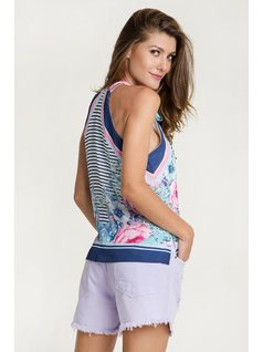 PRINT HALTER TOP WITH BOW back