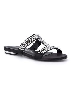 Slide sandal with crystals front