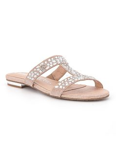Slide sandal with crystals front