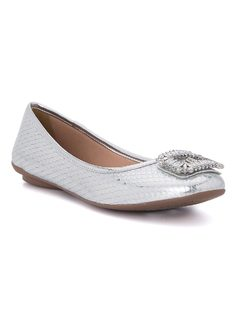 Ballerina flat with crystals front