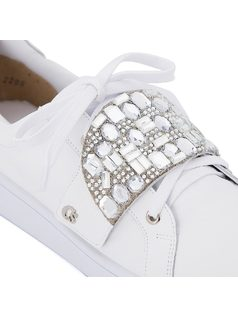 Tennis shoe with crystal embellishments back