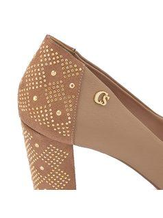 Peep toe pump with studded heel back