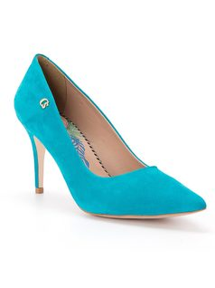 Suede stiletto with brand initials front