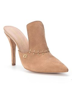 Pointed toe high-heel mule front