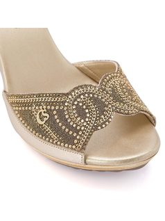 Mule with metallic embroidery and studding back