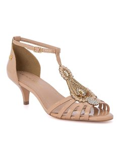 Kitty heel sandal with stonework front