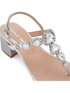 T-strap sandal with metal buckle back