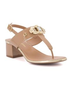 T-strap sandal with metal buckle front