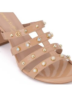 Slide strappy sandal with pearls back