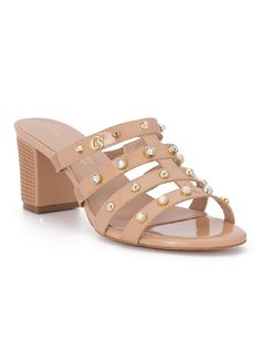 Slide strappy sandal with pearls front