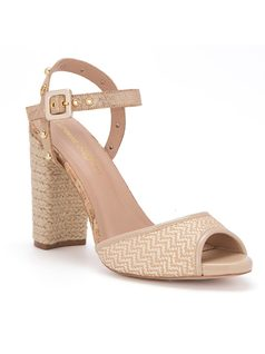 T-strap sandal with yute heel front