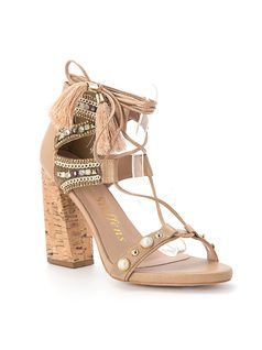 Strappy sandal with cork heel and studding front